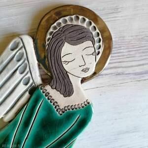anioł ceramiczny - vela, anioł, aniołek, komunię, płaskorzeźba, ślub, zawieszka
