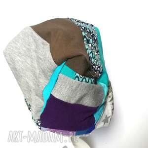 handmade czapki czapka patchworkowa boho tkanina wełna dzianina handamade