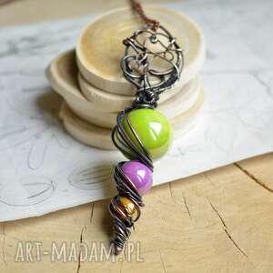 bohema - naszyjnik z ceramiką w stylu bohemy, talizman, kolorowy