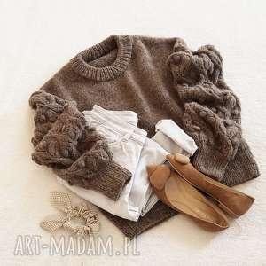 brązowy bomberek, dziergany, alpaka, sweter, wełniany