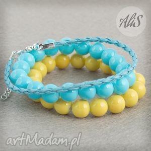 Wiosenna żółto-niebieska - ,wiosenna,żółta,turkusowa,niebieska,gumka,rzemień,
