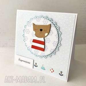 zaproszenie na roczek lub chrzest - kotek marynarz, urodziny