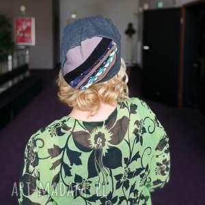 czapka szara damska dzianina w stylu boho etno folk handmade - czapka, etno, boho, jogging