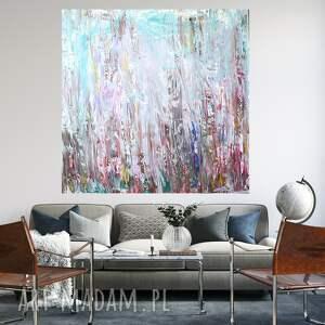 obraz abstrakcyjny 100x100, duży obraz, ręcznie malowany, abstrakcja