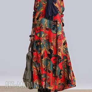 sukienka lniana z bawełną w kwiaty absolutnie obłędna rozmiar , sukienka, bawełna