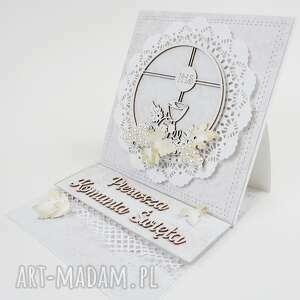 kartka sztalugowa w pudełku, komunia, pamiątka, podziękowanie, życzenia