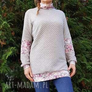 T21 bluza damska tunika, golf s m kwiaty bluzy mela art bluza