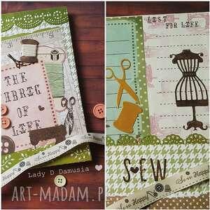 scrapbooking notesy stylowy notatnik dla miłośniczek szycia i życia, notes