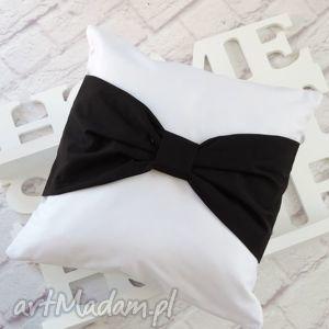marima decor poduszka dekoracyjna biała z czarną kokardą, poduszka