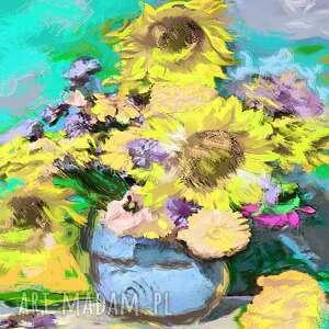 kwiaty słoneczniki obraz na płótnie 50 x 40 cm, shabby chic, sielski