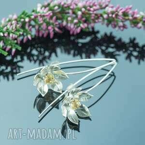 srebrne kolczyki kwiaty z cytrynem
