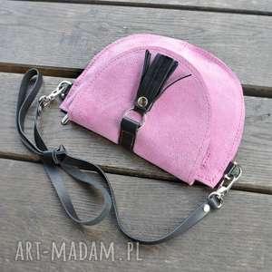 Skórzana torebka dla dziewczynki - różowa, welur, skóra,
