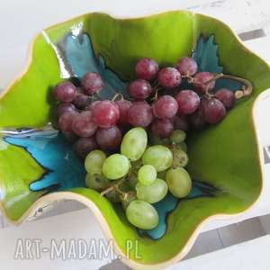 wywijana misa na owoce, miska, dekoracyjna, ceramiczna, kolorowa, koronkowa