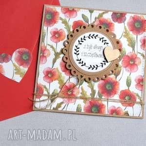 kaktusia kartka ślubna polne kwiaty maki, ślub, ślubna, polne