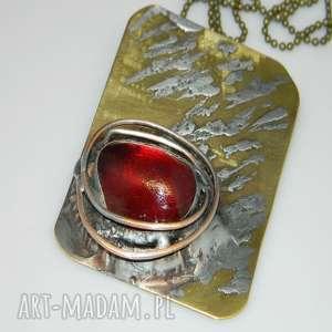 czerwone oko-N43, wisior, szklany-wisior, unikatowa-biżuteria, mosiądz