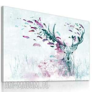 Obraz drukowany na płótnie - pejzaż z jeleniem-jeleń wsród