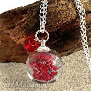 naszyjnik czerwona poezja - naszyjnik, kwiaty, suszone, prawdziwe, szklanej, kuli
