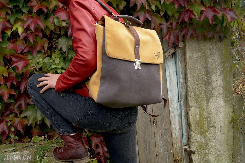 ręcznie robione na ramię plecak/teczka żółto-szara