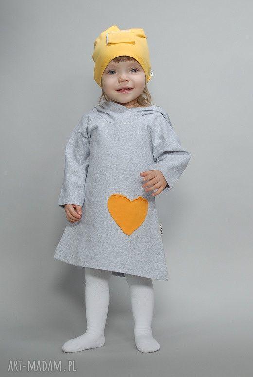 ręcznie wykonane ubranka szara sukieneczka z kapturkiem!!!