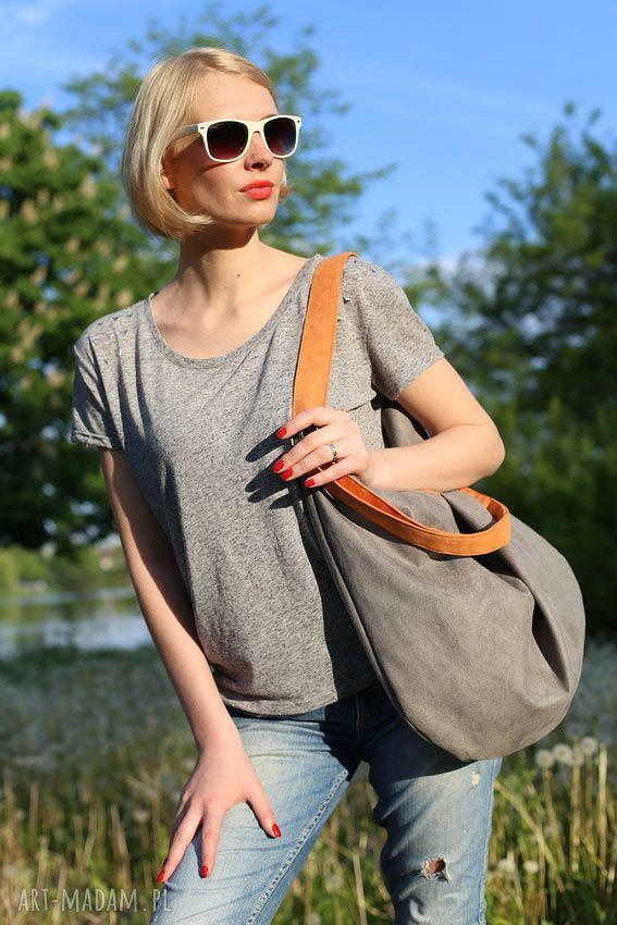 ręcznie wykonane torebki hobo xxl true colors - orange grey