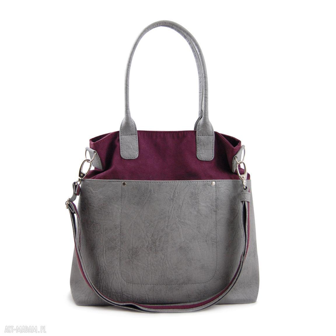 handmade na ramię fiella - duża torba - burgund o szarość