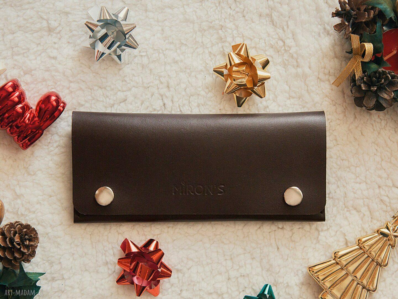 handmade portfele portfel skórzany czekoladowy