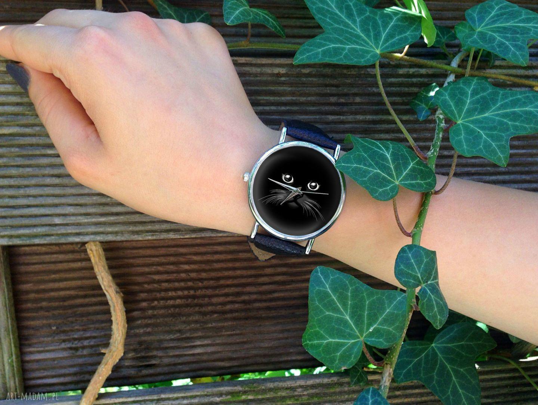 unikatowe zegarki zegarek koci pyszczek - skórzany