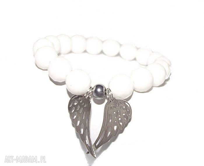 ręczne wykonanie bransoletki srebrne skrzydła anioła