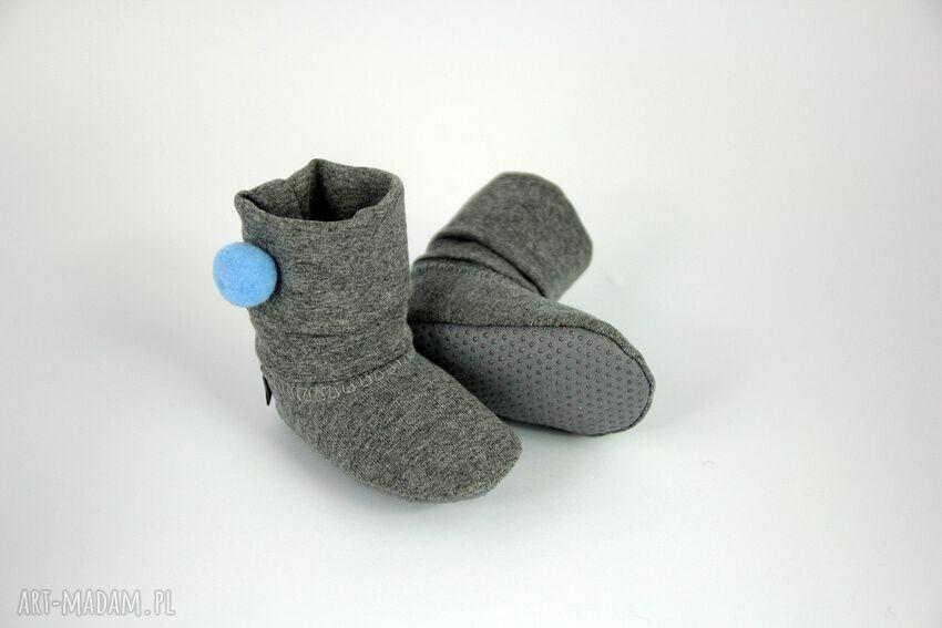 niebieskie buciki babyshower bambosze / hand made niebieski