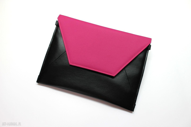 ręczne wykonanie kopertówki kopertówka - czarna i klapka fuksja