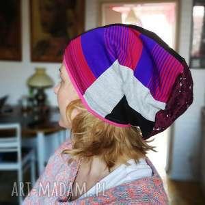 czapka patchworkowa damska etno - czapka, etno, koronka, prezent, kolorowa, wiosna