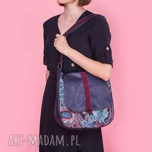sashka - torebka na ramię granat, bordo i kwiaty, listonoszka, upominek