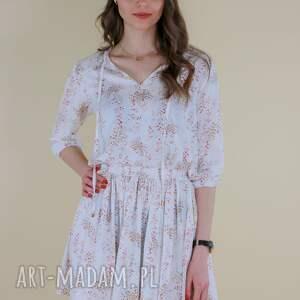 sukienki sukienka biała z rękawkiem, delikatny kwiatek lona