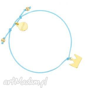 turkusowa sznurkowa bransoletka ze złotą koroną, bransletka, sznurkowa, blogerska