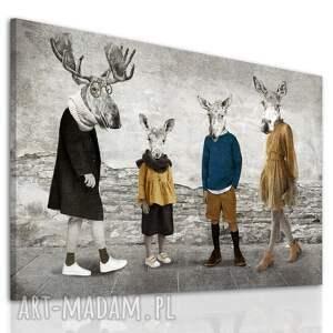 rodzina łosi w modnych stylizacjach - nowoczesny obraz drukowany na płótnie