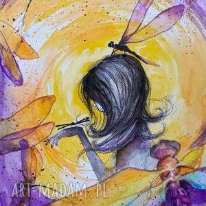 kobieta wiatr akwarela artystki adriany laube - obraz na papierze a3, ważka