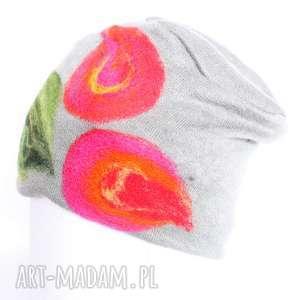 handmade czapki czapka wełniana damska szara