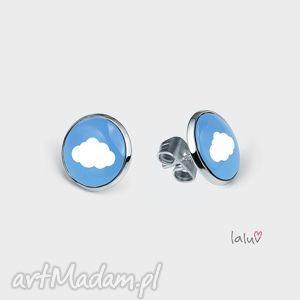 mini kolczyki sztyfty chmurka, malutkie, lekkie, niebo, urocze, chmura, słońce