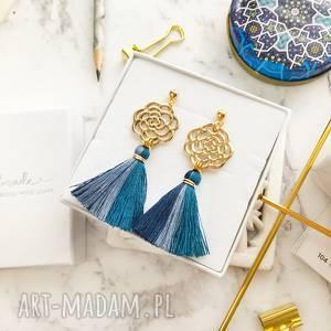 kolczyki boho ombre - blue, boho, rozetki, chwosty, modne