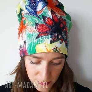 unikalny, czapki czapka rysowana, rysunek, kredki, dżungla, rysowane, kwiaty