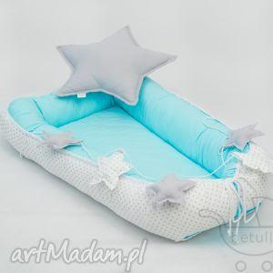 ręcznie zrobione pokoik dziecka kokon niemowlęcy otulacz pikowany turkus - kropki
