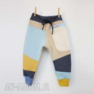 handmade ubranka patch pants spodnie 74 - 98 cm krem & błękit