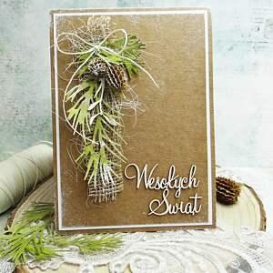 prezent pod choinkę Wesołych Świąt-kartka w stylu eco, scrapbooking, boże-narodzenie