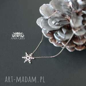 handmade prezent pod choinkę naszyjnik ze śnieżynką