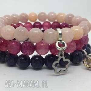 piękny zestaw bransoletek z kamieni ozdobnych, bransoletki, prezent, kobieta