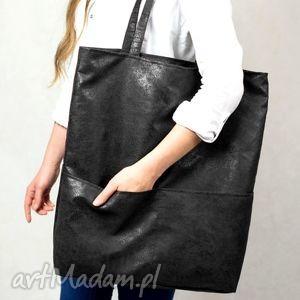 ręcznie wykonane torebki czarna duża torba shopper z zamszu ekologicznego do noszenia na ramieniu