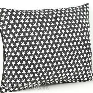 poszewka biało-czarna na poduszkę - gwiazdki, poduszka, dekoracja, prezent
