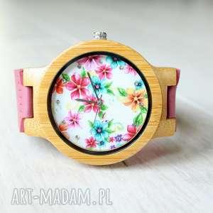 święta, drewniany zegarek kwiaty, drewniany, skóra, damski, kolorowy