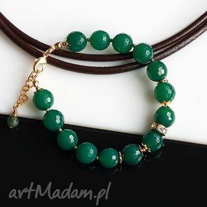Zielona w złocie, agat, metal, bransoletka