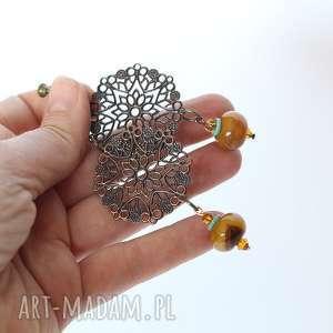klipsy handmade z kamieniem ażurowe, klpsy, lekkie, orientalne, etniczne